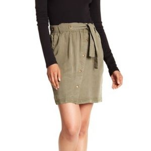 Splendid Button Front Paperbag Waist Skirt